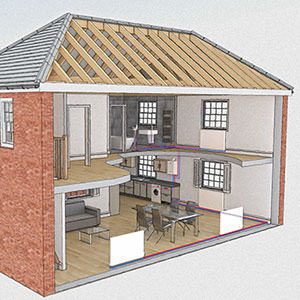 3D House heating diagram