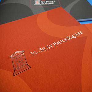 Close-up of a 35-38 St Paul's Place brochure cover