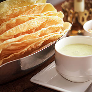 Food photography - papadums at Rajdoot