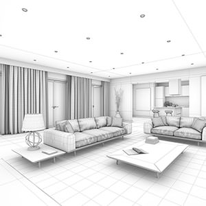 Living room photorealistic CGI - wireframe